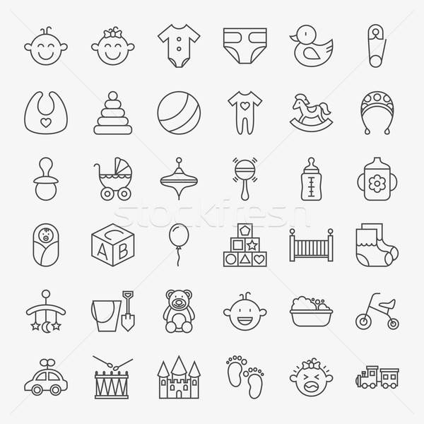 Baby Line Art Design Icons Big Set Stock photo © Anna_leni