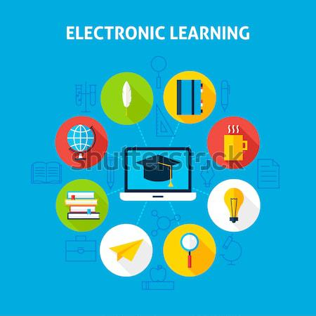 Electronic Learning Infographic Concept Stock photo © Anna_leni