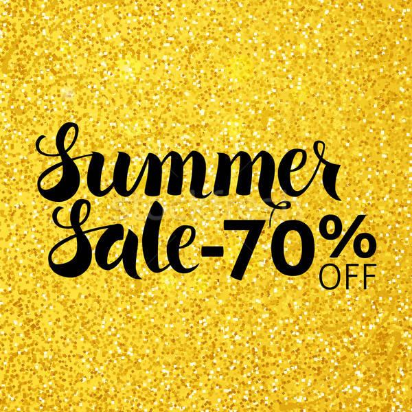 Summer Sale 70 Off Vector Lettering over Gold Glitter Stock photo © Anna_leni