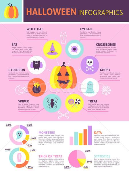 Modny halloween infografiki projektu sztuczka Zdjęcia stock © Anna_leni