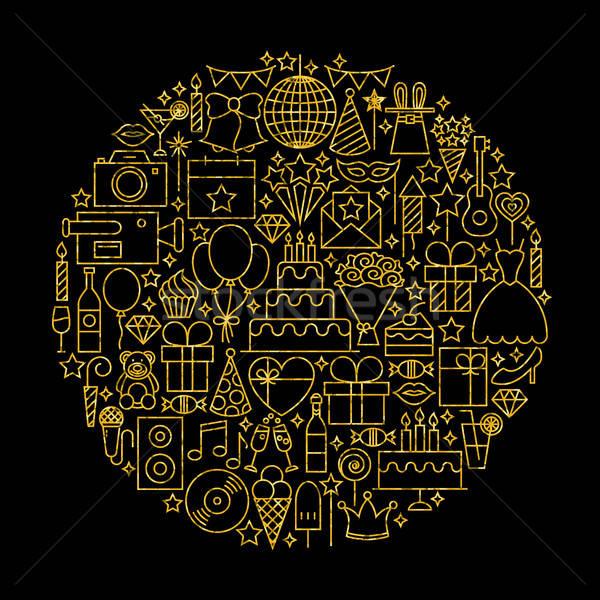 Gold and Black Birthday Line Icons Stock photo © Anna_leni