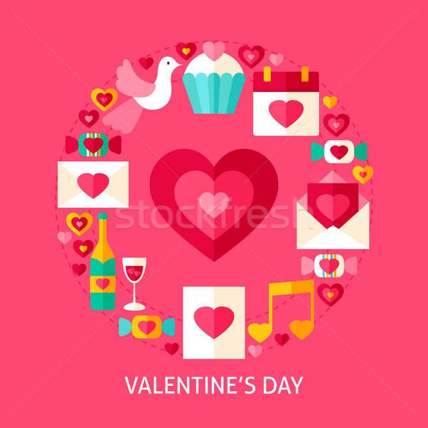 Día de san valentín postal anunciante diseno colección amor Foto stock © Anna_leni
