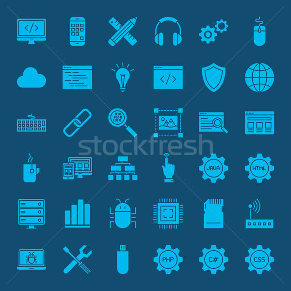 Coding Glyphs Website Icons Stock photo © Anna_leni
