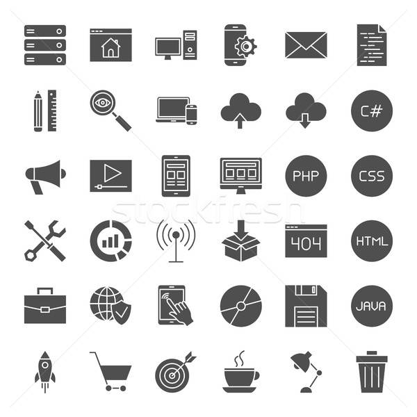 Zdjęcia stock: Kodowanie · solidny · web · ikony · wektora · kolekcja · nowoczesne