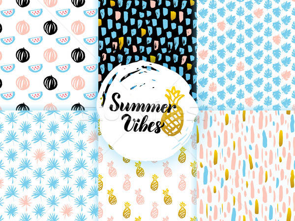 Summer Funky Seamless Patterns Stock photo © Anna_leni