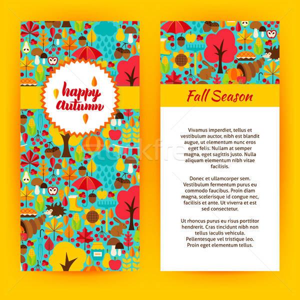 Flyer Vorlage glücklich Herbst fallen saisonabhängig Stock foto © Anna_leni