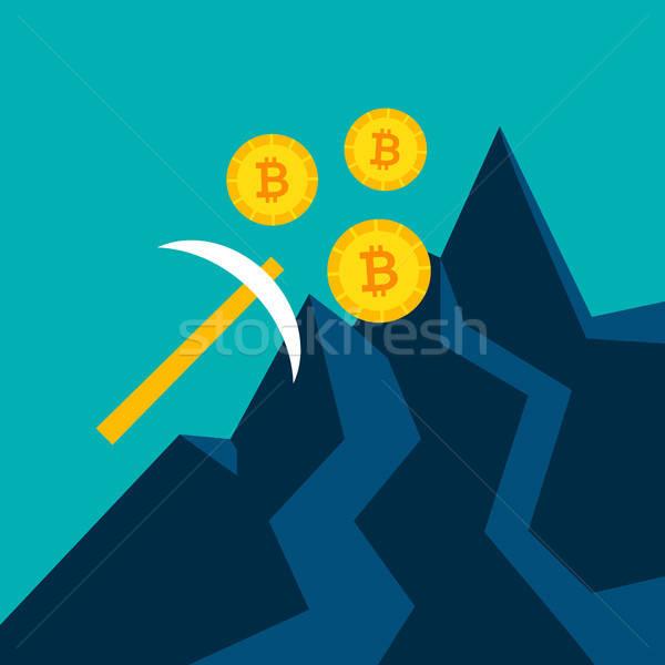 Bitcoin Mining Pickaxe Concept Stock photo © Anna_leni