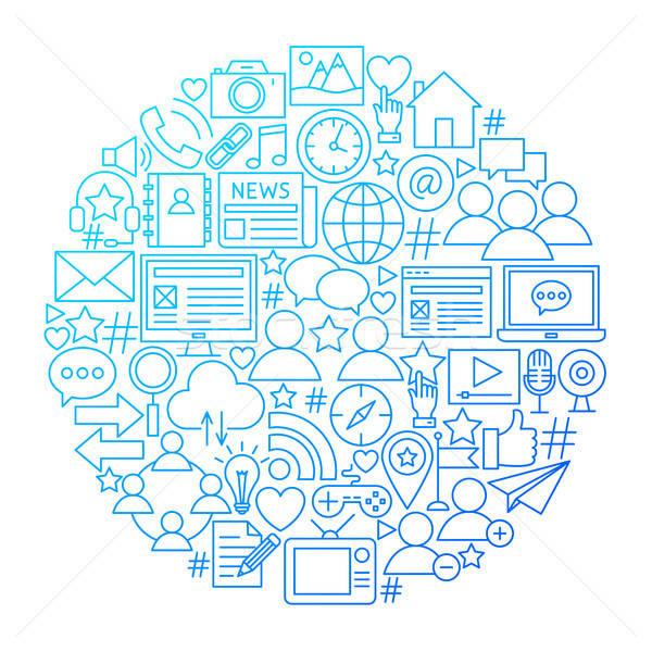 Social Media Line Icon Circle Design Stock photo © Anna_leni
