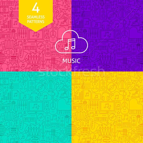 Vonal zene minták négy vektor website design Stock fotó © Anna_leni