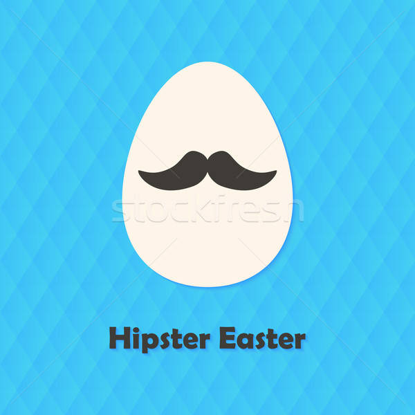 Hexagonal Greeting Card with Hipster Easter Egg with Mustache Stock photo © Anna_leni