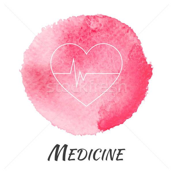 Tıp kalp nabız vektör suluboya kalp şekli Stok fotoğraf © Anna_leni