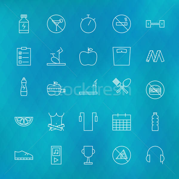 Fitness and Dieting Line Icons Set over Polygonal Blurred Backgr Stock photo © Anna_leni