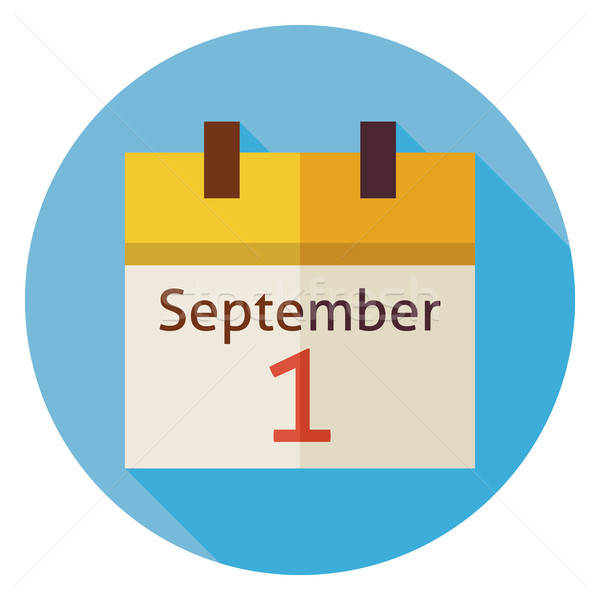 Flat Back to School September Calendar Circle Icon with Long Sha Stock photo © Anna_leni