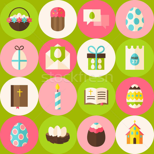 Vector Green Happy Easter Seamless Pattern with Circles Stock photo © Anna_leni