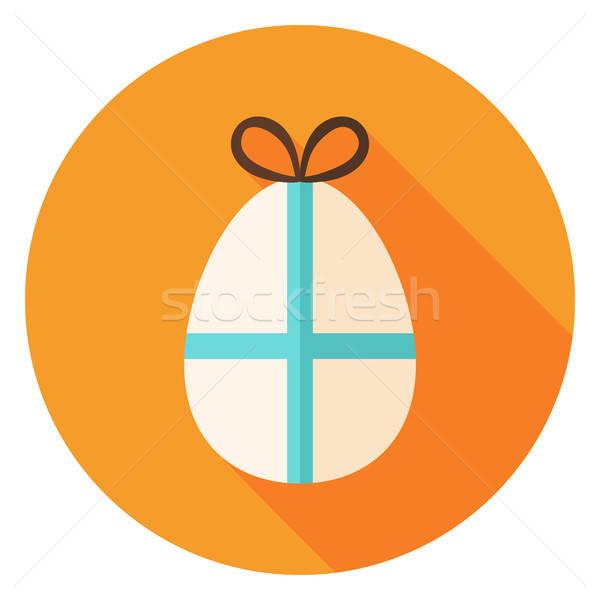 Easter Egg with Bow Circle Icon Stock photo © Anna_leni
