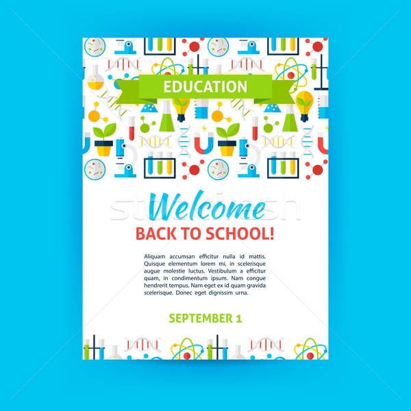 Welcome Back to School Poster Template Stock photo © Anna_leni