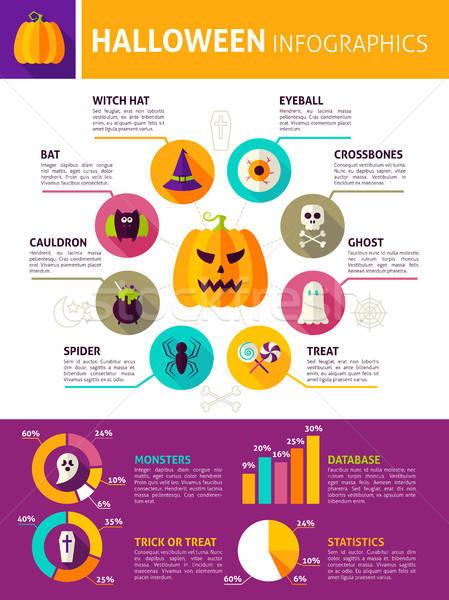 Halloween duży infografiki projektu sztuczka Zdjęcia stock © Anna_leni