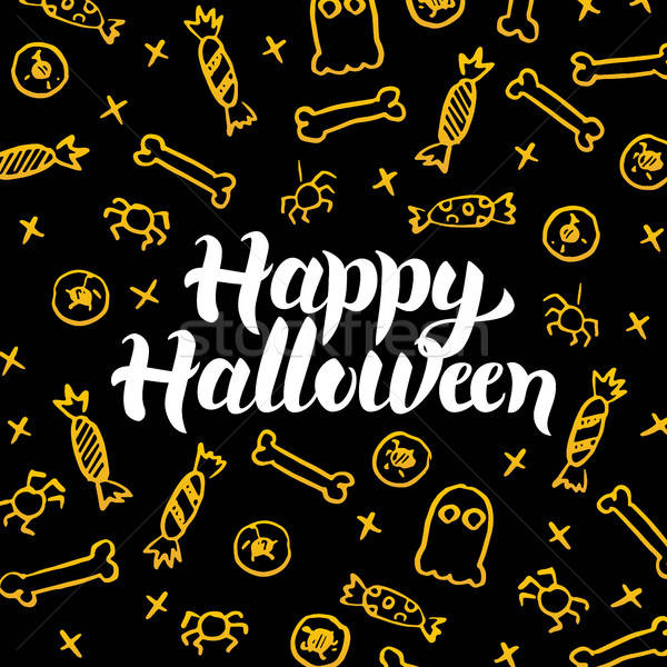 Happy Halloween Gold Black Postcard Stock photo © Anna_leni