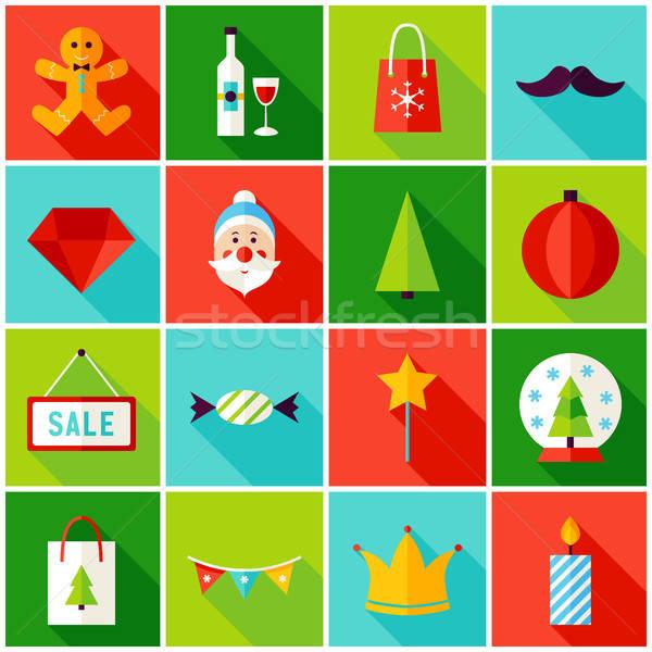 Merry Christmas Colorful Icons Stock photo © Anna_leni