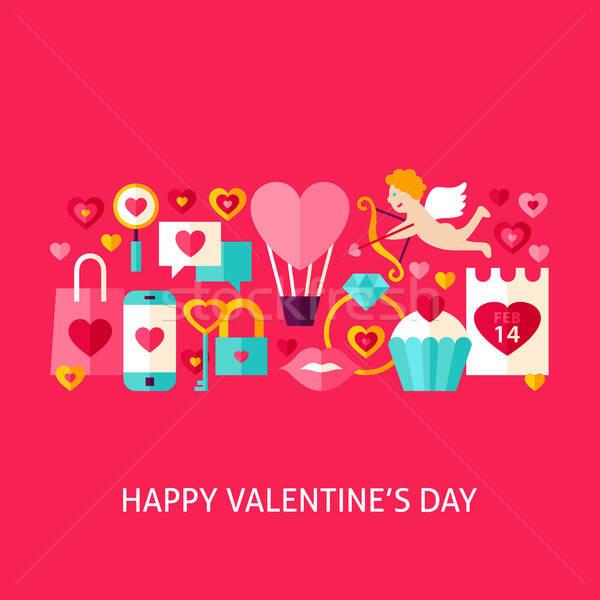 Stockfoto: Gelukkig · Valentijn · dag · wenskaart · ontwerp · liefde