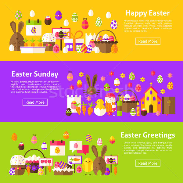 Kellemes húsvétot háló vízszintes bannerek stílus weboldal Stock fotó © Anna_leni