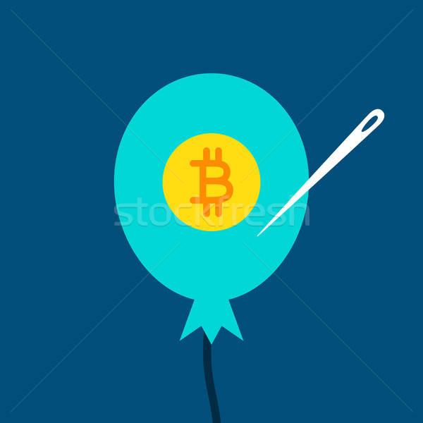Bitcoin ballon financiële business achtergrond teken Stockfoto © Anna_leni