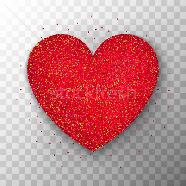 Red Glitter Heart Transparent Background Stock photo © Anna_leni