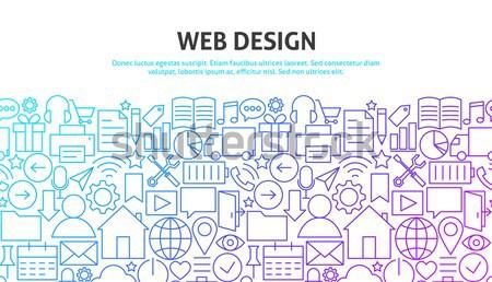 Rechtsanwalt Recht line Website-Design Banner Vorlage Stock foto © Anna_leni