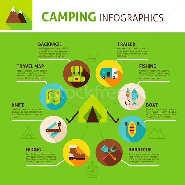 Kempingezés infografika terv nyári tábor sport háttér Stock fotó © Anna_leni