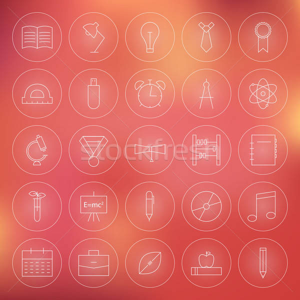 Education and Science Circle Line Icons Set Stock photo © Anna_leni