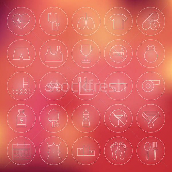 Stock photo: Sport and Healthy Lifestyle Circle Line Icons Set