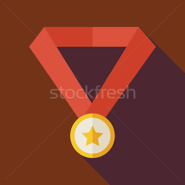 Flat Award Gold Medal with Star Illustration with long Shadow Stock photo © Anna_leni