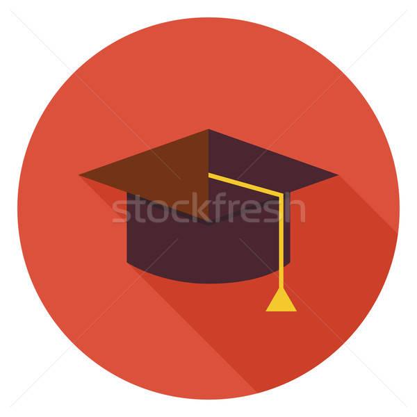 Flat Education Graduate Hat Circle Icon with Long Shadow Stock photo © Anna_leni