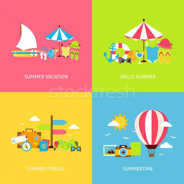 Summer Travel Vector Flat Concepts Set Stock photo © Anna_leni