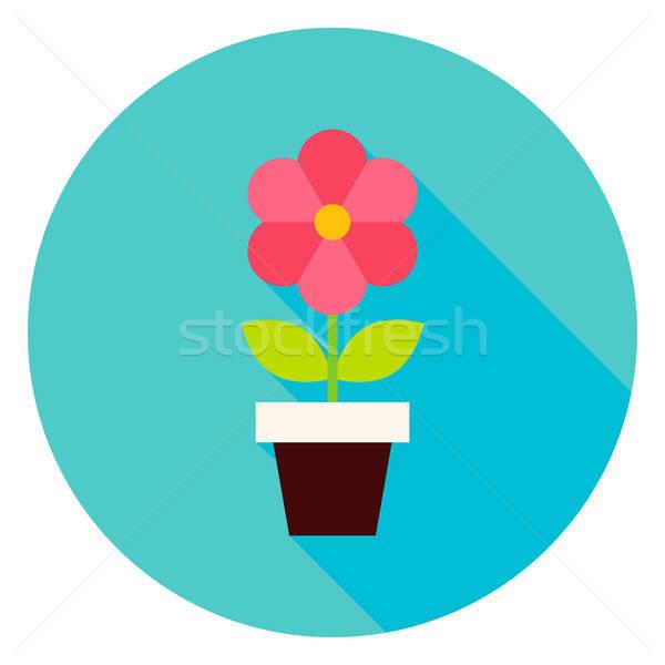 Plant in Flower Pot Circle Icon Stock photo © Anna_leni