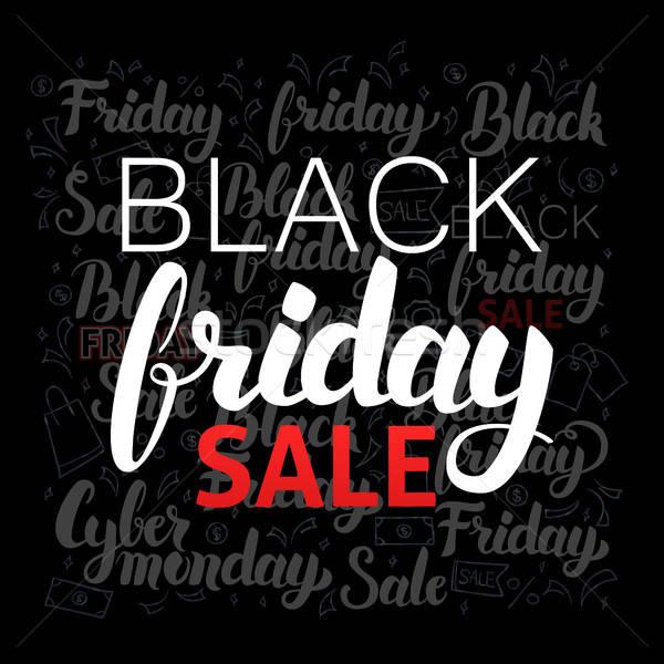 Black friday venda preto projeto caligrafia decoração Foto stock © Anna_leni