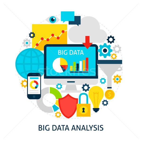 Grand données analyse affiche design Photo stock © Anna_leni