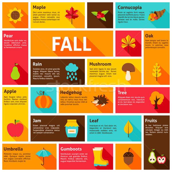 ősz infografika ősz szezonális ikonok fa Stock fotó © Anna_leni