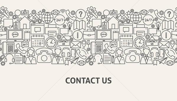 Kapcsolatfelvétel szalag vonal web design könyv terv Stock fotó © Anna_leni