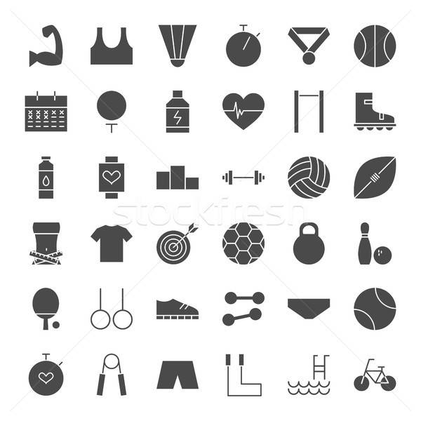 Sport Fitness Solid Web Icons Stock photo © Anna_leni
