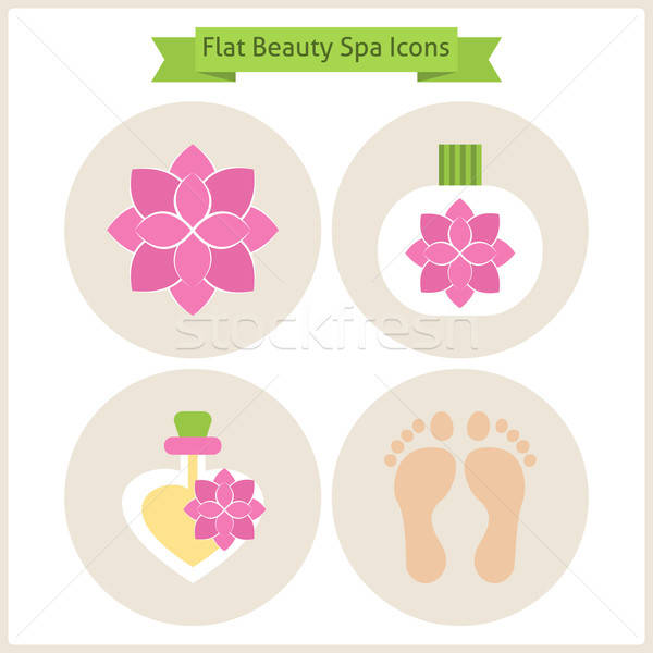 Flat Flower Beauty and Spa Icons Set Stock photo © Anna_leni