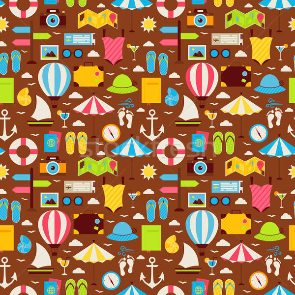 Flat Summer Travel Voyage Seamless Pattern Stock photo © Anna_leni