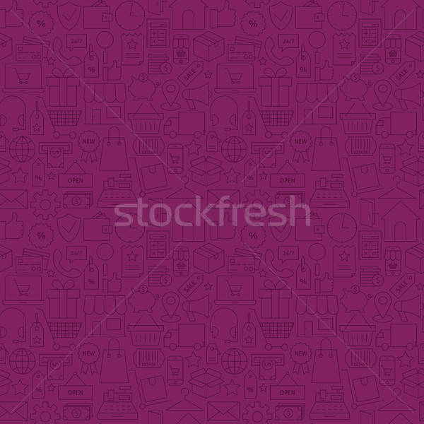 Thin Line Internet Shopping Dark Purple Seamless Pattern Stock photo © Anna_leni