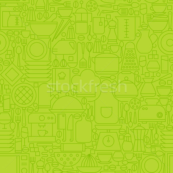 Thin Green Kitchen Appliances and Cooking Line Seamless Pattern Stock photo © Anna_leni