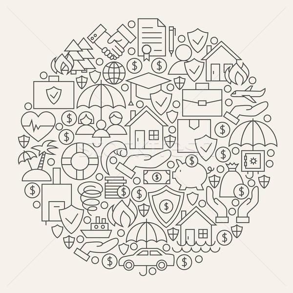 страхования услугами линия круга форма Сток-фото © Anna_leni