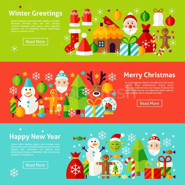 Christmas Holiday Web Horizontal Banners Stock photo © Anna_leni