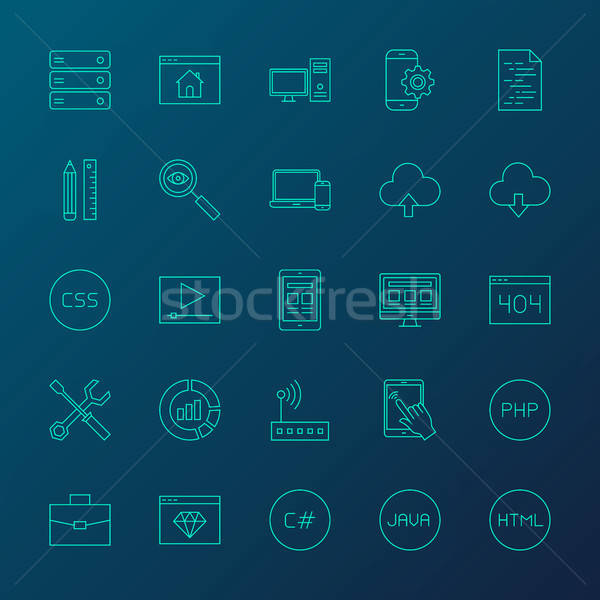 Coding Resources Line Icons Stock photo © Anna_leni