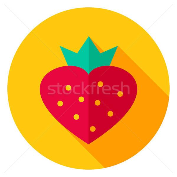 ストックフォト: 甘い · イチゴ · サークル · アイコン · デザイン · 長い