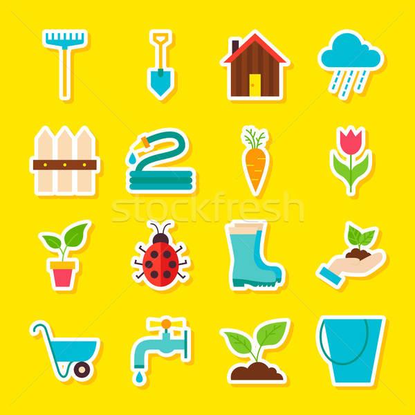 Spring Gardening Stickers Stock photo © Anna_leni
