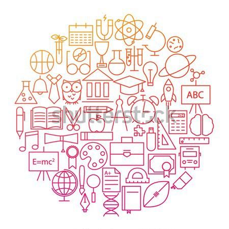 Law Line Icon Circle Design Stock photo © Anna_leni